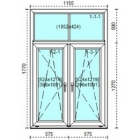Room PVC window with two opening flaps Stalinka